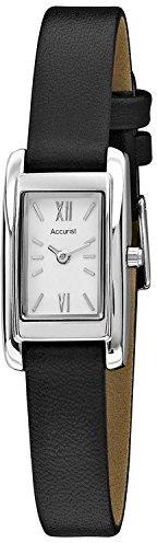 Accurist クラシックホワイトダイヤルブラック革ストラップレディース時計ls642 W