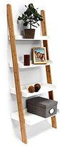 Relaxdays Bamboo Bookcase: 144 x 56 x 34 cm Ladder Shelf Unit with 4 Shelves Made of Bamboo Wood Living Room Office Furniture Bookshelf, White