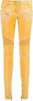 Balmain Moto-style low-rise coated skinny jeans