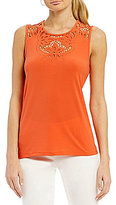 CeCe Knit Top With Floral Cutout Neckline