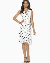 Lauren Ralph Lauren Cowl Neck Polka Dot Dress