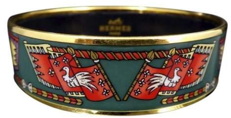 Hermes Gold Tone Metal Cloisonne Green Enamel Bangle Bracelet