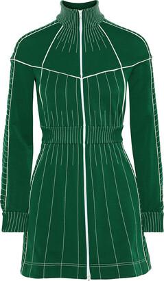 Valentino Zip-detailed Embroidered Stretch-ponte Mini Dress