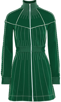 Valentino Zip-detailed Embroidered Stretch-ponte Mini Dress