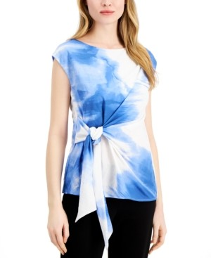 Alfani Printed Side Tie Top, Created for Macy's