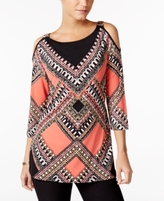 JM Collection Petite Printed Cold-Shoulder Tunic, Created for Macy's