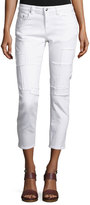 Derek Lam 10 Crosby Mila Patchwork Mid-Rise Slim Girlfriend Jeans, White