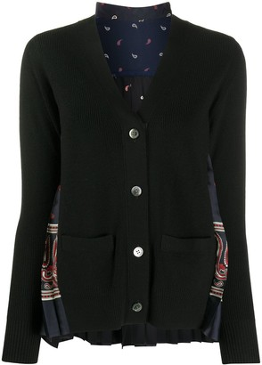 Sacai Paisley-Print Pleated Wool Cardigan