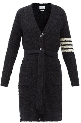 Thom Browne Four-bar Cotton-blend Boucle Cardigan - Navy
