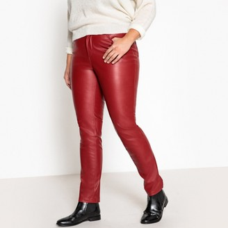 """La Redoute Collections Plus Faux Leather Slim Fit Trousers, Length 30.5"""""""
