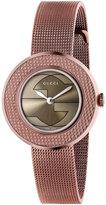 Gucci U-Play Round PVD-Finish Mesh Bracelet Watch, Brown