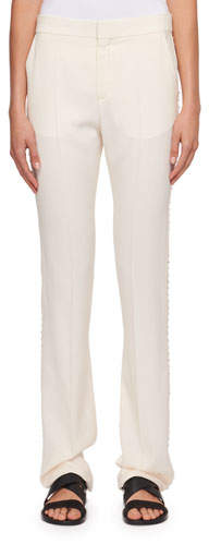 Chloé Cady Straight-Leg Pants with Rhinestone Embroidery