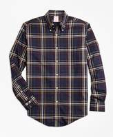 Brooks Brothers Non-Iron Madison Fit Navy and Gold Plaid Sport Shirt