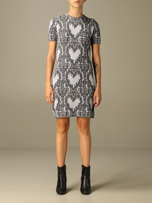 Love Moschino Dress In Wool Blend With Python-effect Hearts