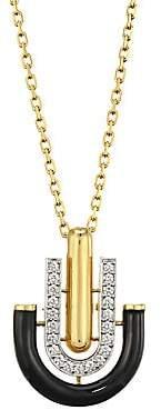 David Webb Women's Motif 18K Yellow Gold, Black Enamel & Diamond Unity Pendant Necklace