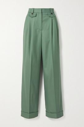 Casablanca Pleated Wool-twill Straight-leg Pants - Sage green