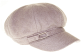 Nine West Gray Tab-Accent Wool-Blend Newsboy Cap