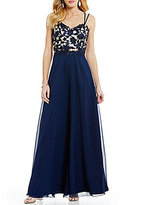 B. Darlin Lace Applique Bodice Open-Back Long Dress