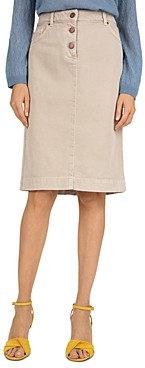 Gerard Darel Luna Cotton Twill Straight-Cut Skirt