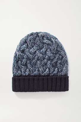 Chloé Cable-knit Melange Wool-blend Beanie - Navy