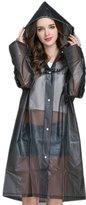RDT Women's Waterproof Long Raincoat with Hood(XL)