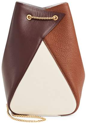 THE VOLON Leather Colourblock Bucket Bag