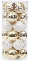"Sea Team 60mm/2.36"" Delicate Contrast Color Theme Painting & Glittering Christmas Tree Pendants Decorative Hanging Christmas Baubles Balls Ornaments Set - 24 Pieces (Gold & White)"