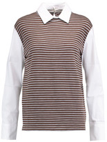 Brunello Cucinelli Striped Wool And Cashmere-Blend And Stretch Cotton-Blend Top