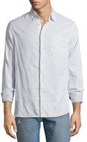 Rag & Bone Beach Fine-Striped Sport Shirt, Ivory/Black