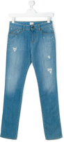 Armani Junior Teen ripped detail jeans - kids - Cotton/Spandex/Elastane - 14 yrs