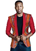 BintaRealWax Men's Dashikis African Print Blazers Jackets Long Sleeve Printed Coats Blouses WYN262 S