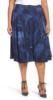 Melissa McCarthy Print Ponte Circle Skirt (Plus Size)