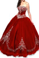 Gorgeous Bridal Retro Princess Tulle Ball Gown Quinceanera Dress Strapless - US