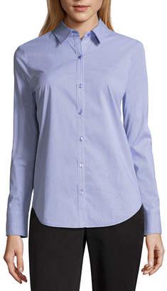 WORTHINGTON Worthington Womens Long Sleeve Modern Fit Button-Front Shirt