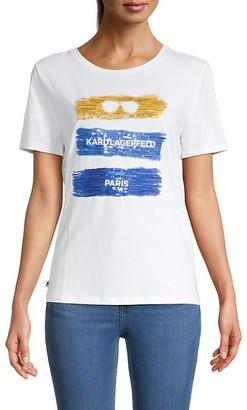 Karl Lagerfeld Paris Tri-Color Graphic T-Shirt