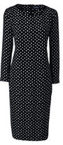 Classic Women's Plus Size 3/4 Sleeve Woven Tee Dress-Black Brushed Dots