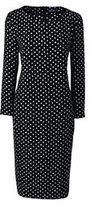 Lands' End Women's Tall 3/4 Sleeve Woven Tee Dress-Black Brushed Dots