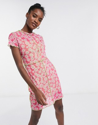 The Ragged Priest bodycon mini dress with contrast seams in daisy print mesh