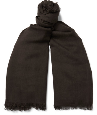 Tom Ford Logo-embroidered Wool And Silk-blend Scarf - Brown