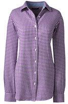 Lands' End Women's Petite Flannel Shirt-Bright Cherry Plaid