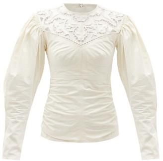 Isabel Marant Tayma Lace-panel Cotton-poplin Top - Ivory