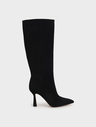 Charles & Keith Textured Sculptural Heel Knee High Boots