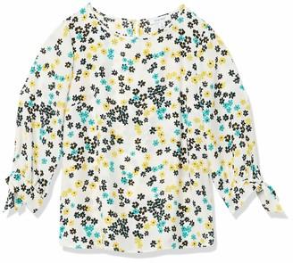 Nine West Women's Printed Long Blouse with TIE Sleeve Detail