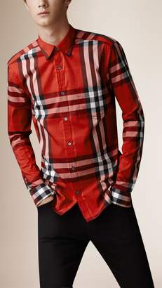 Burberry Check Stretch Cotton-Blend Shirt