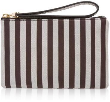 Henri Bendel Brown & White Stripe Flat As A Pancake