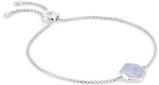 Katie Belle Rosina Sterling Silver Hexagon Gemstone Bracelet - Blue Lace Agate