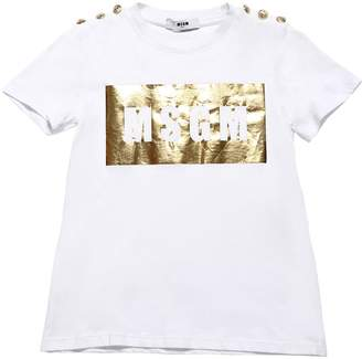 MSGM LOGO COTTON JERSEY T-SHIRT