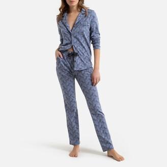 La Redoute Collections Organic Cotton Grandad Pyjamas in Zebra Print with Long Sleeves