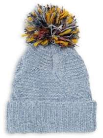 Joolay Multicolored Pom-Pom Cable-Knit Beanie