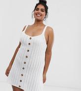 Asos DESIGN Curve crochet button up mini dress